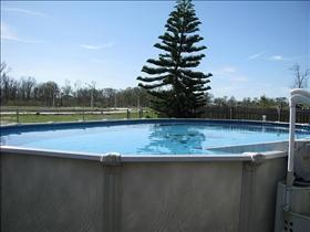Elegant Above Ground Pool. Concrete Pool